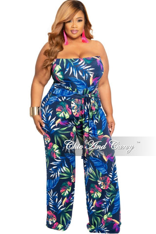 New Plus Size Long Sleeve Faux Wrap Jumpsuit with Slit Sleeves and Attached Tie in Gold Animal Print