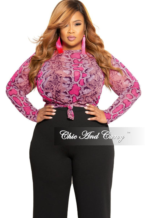 03bc6a93 Final Sale Plus Size Mesh Tie Top in Brown Neon Pink and Black Snake Skin  Print