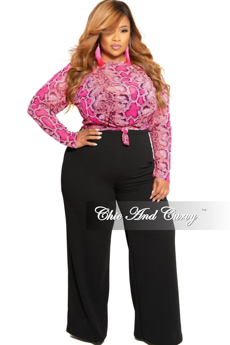Final Sale Plus Size Mesh Tie Top in Brown Neon Pink and Black Snake Skin Print