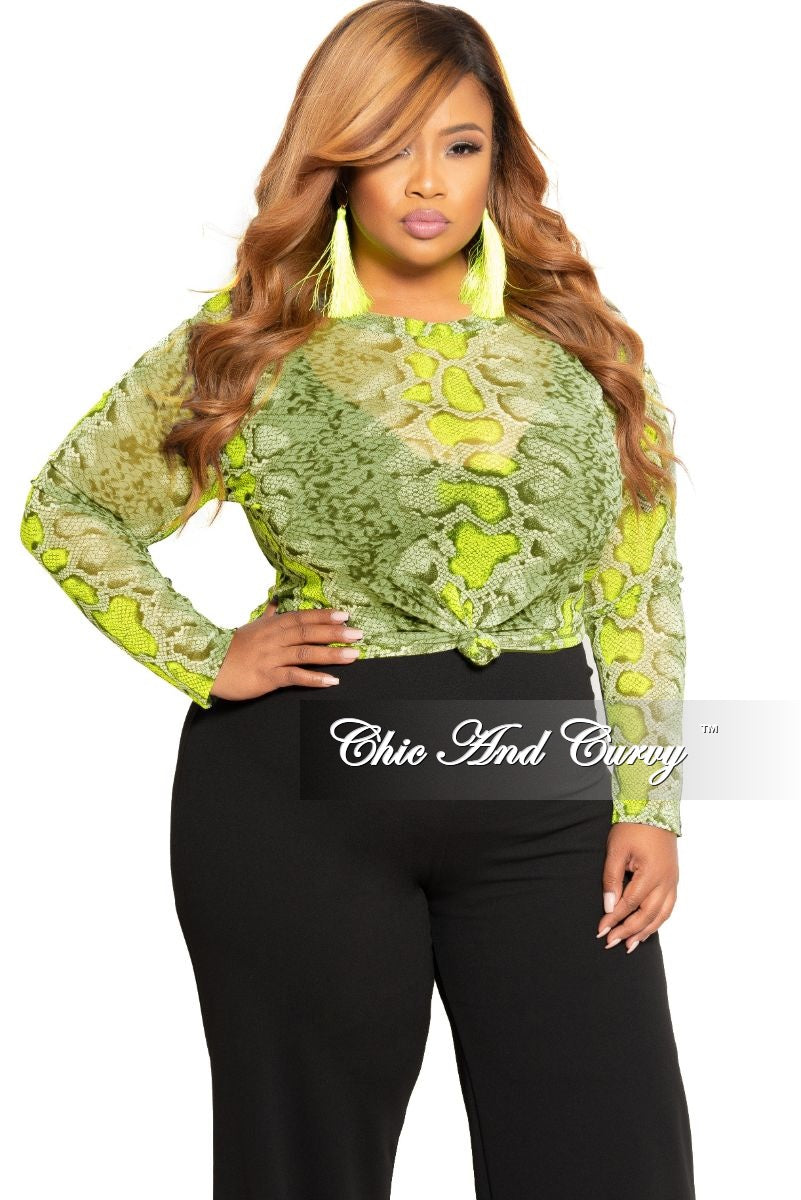 Final Sale Plus Size Mesh Tie Top in Grey Neon Green and Black Snake Skin Print