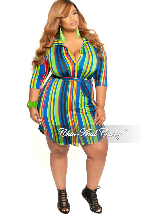 c1d90ca8748 New Plus Size Collared Button Dress with Tie in Lime Green Royal Blue  Yellow Black and