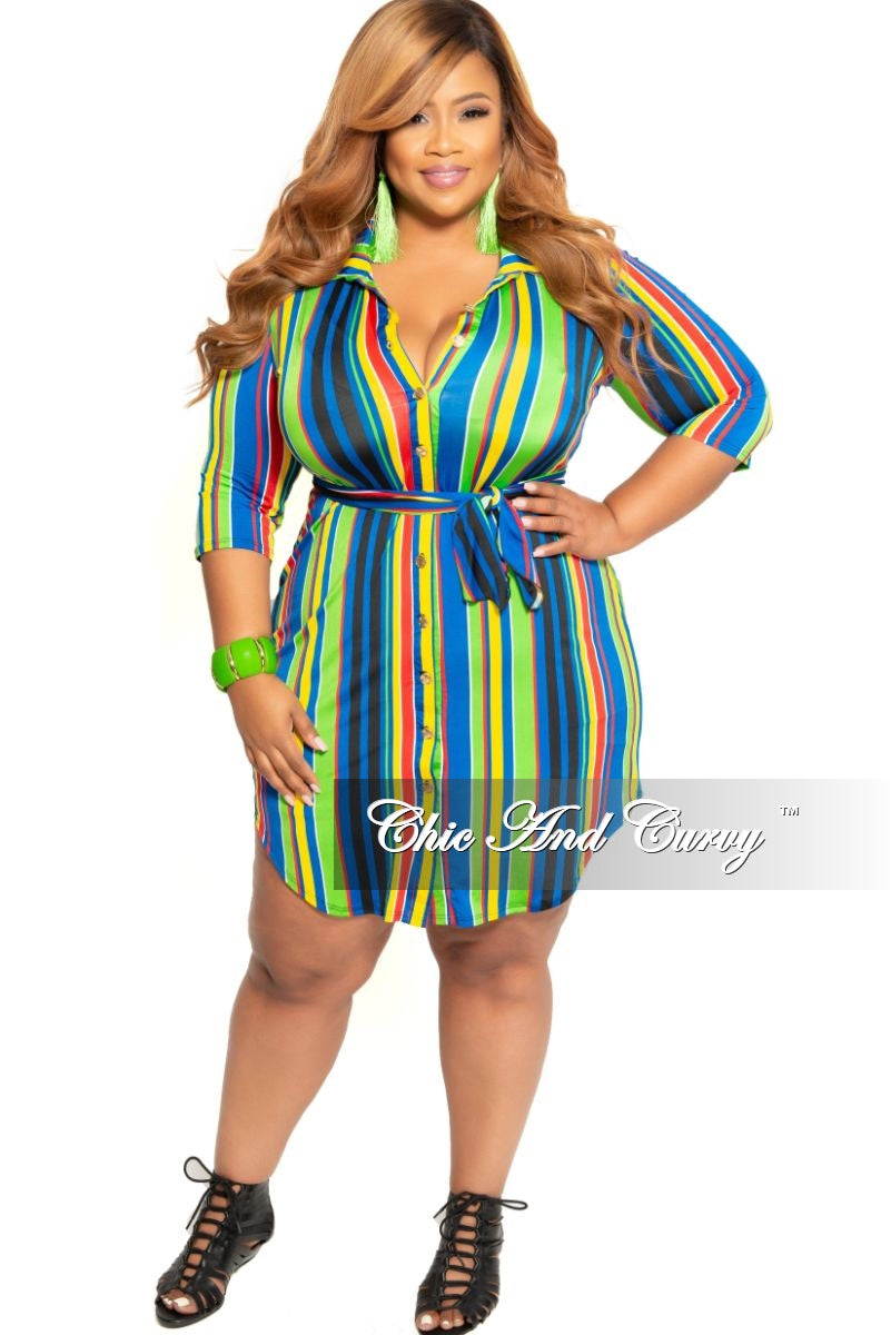 New Plus Size Collared Button Dress with Tie in Lime Green Royal ...