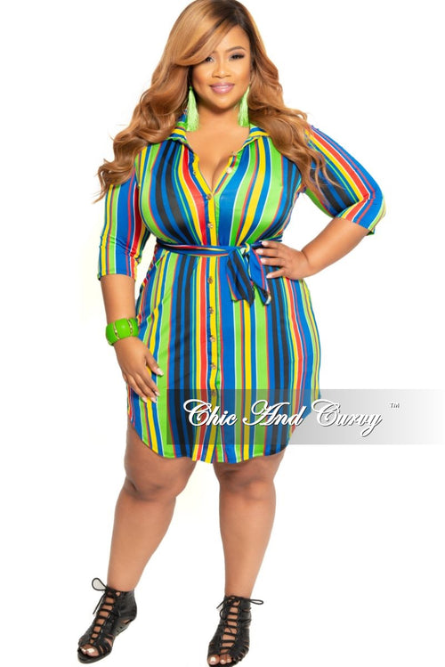New Plus Size Collared Button Dress with Tie in Lime Green Royal Blue Yellow Black and Red Strip Print