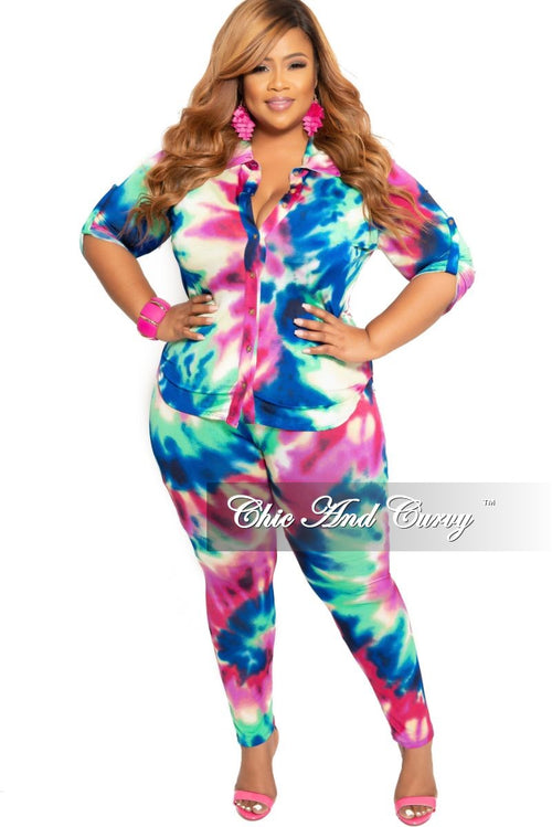 814c275fc85 New Plus Size 2-Piece Collared Button Top and Pants Set in Multi Color Print