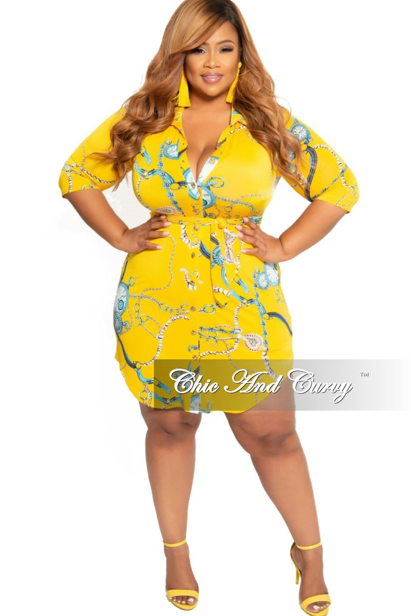 New Plus Size Collared Button Up Dress with Tie in Yellow Chain ...