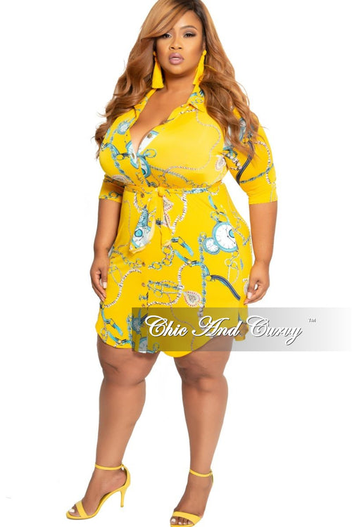 New Plus Size Collared Button Up Dress with Tie in Yellow Chain Print