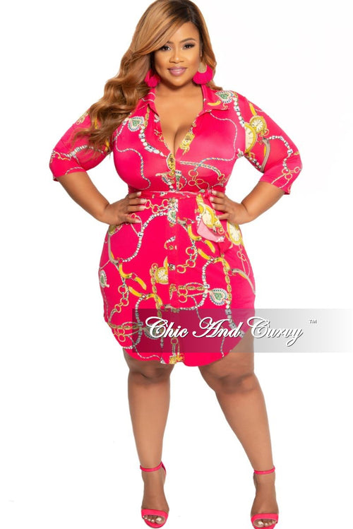 New Plus Size Collared Button Up Dress with Tie in Fuchsia Chain Print