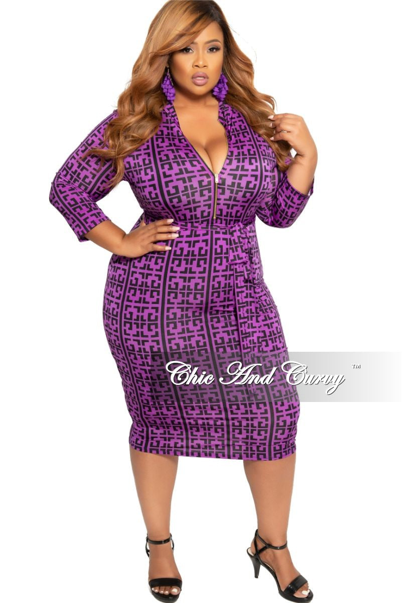 Final Sale Plus Size Zip-Up BodyCon Dress with Attached Tie in Purple and Black Maze Print