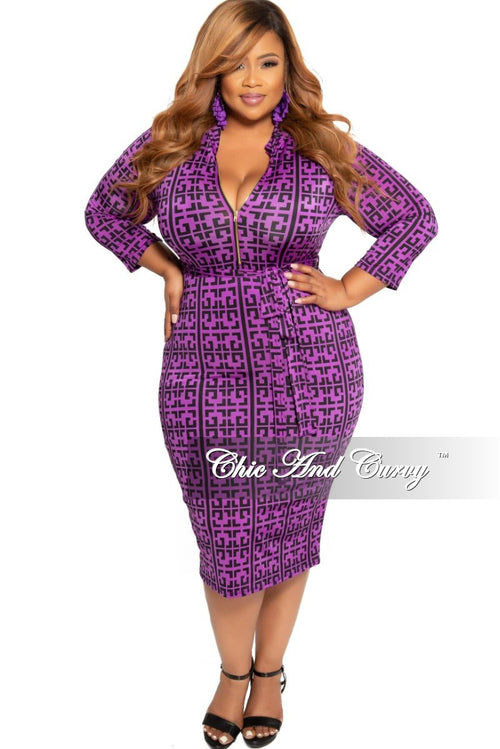 f7ddc24c349 New Plus Size Zip-Up BodyCon Dress with Attached Tie in Purple and Black  Maze