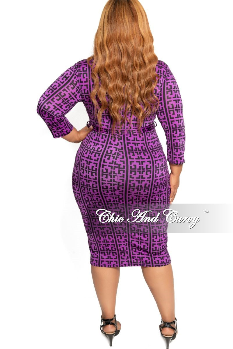 New Plus Size Zip-Up BodyCon Dress with Attached Tie in Purple and Black Maze Print