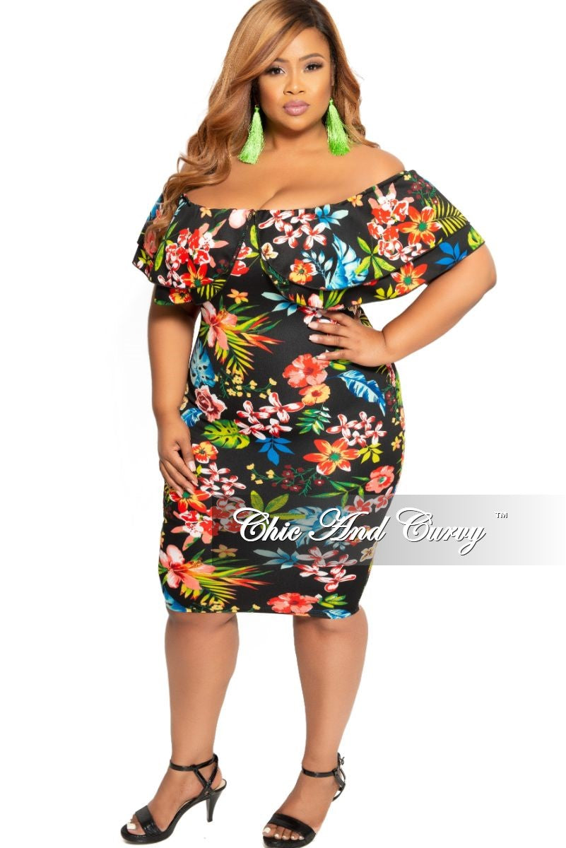New Plus Size Off the Shoulder Ruffle BodyCon Dress Black Floral Print