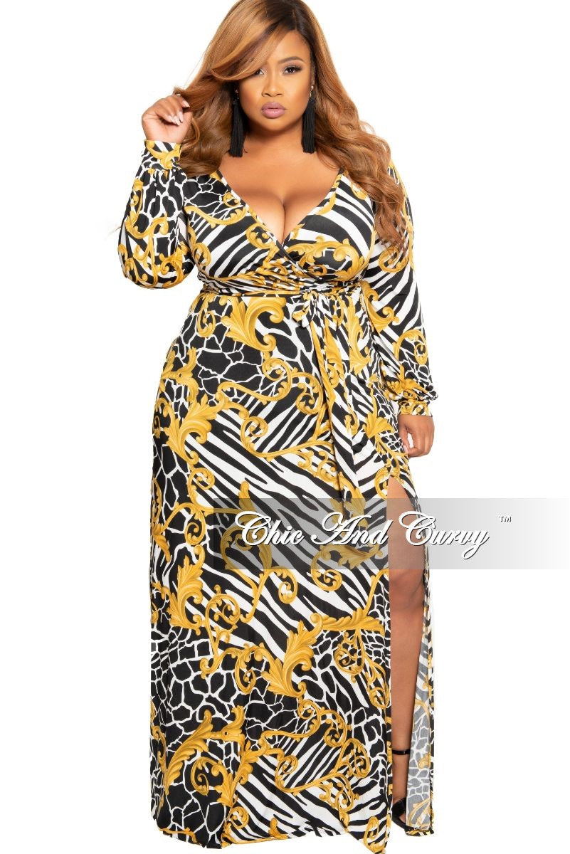 bac8cd555df New Plus Size Faux Wrap Dress With Tie and Side Slit in Black White an –  Chic And Curvy
