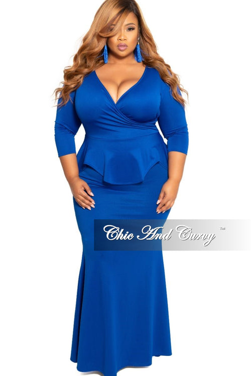 Final Sale Plus Size Faux Wrap Peplum Gown in Royal Blue Scuba