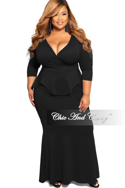 Final Sale Plus Size Faux Wrap Peplum Gown in Black