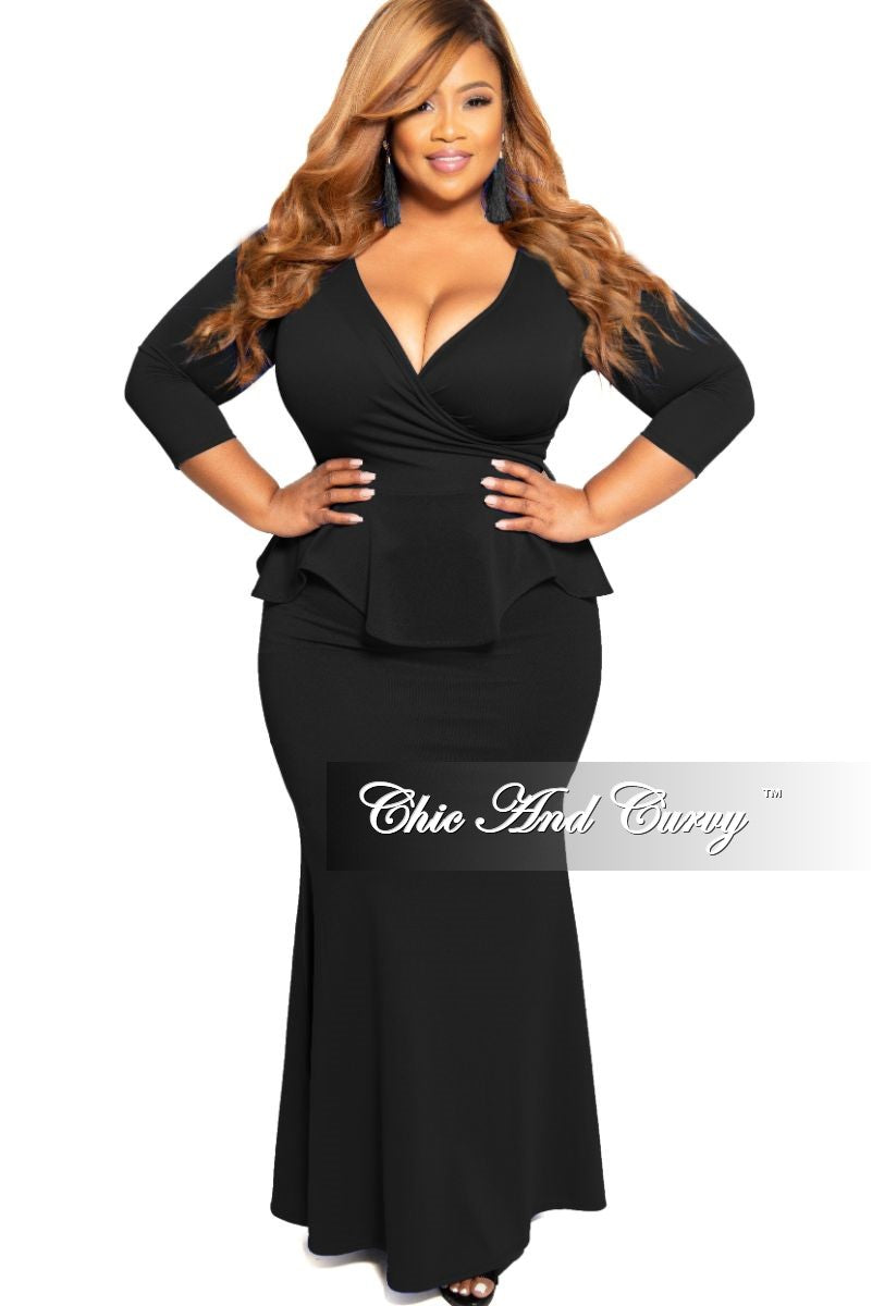 37f0e15709 Final Sale Plus Size Faux Wrap Peplum Gown in Black – Chic And Curvy