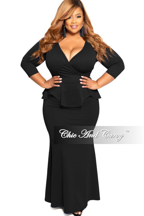 Final Sale Plus Size Faux Wrap Peplum Gown in Black Scuba