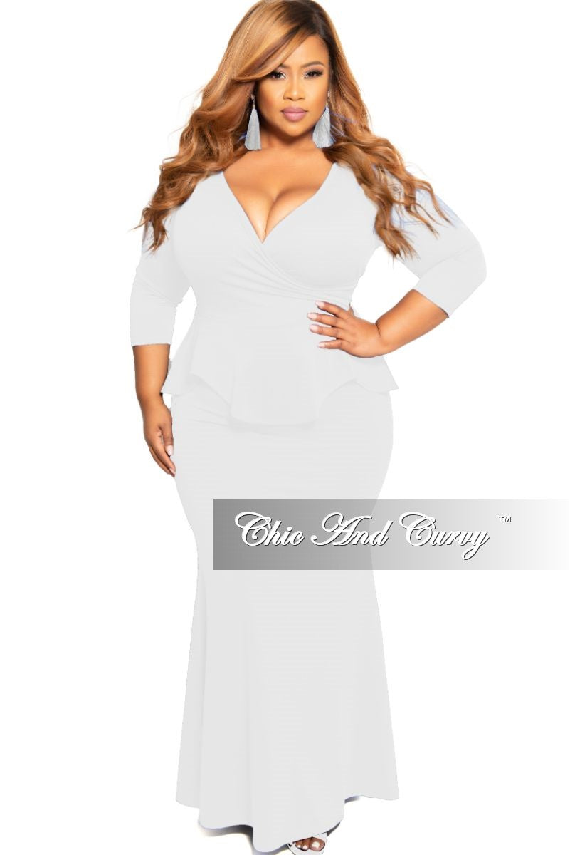 Final Sale Plus Size Faux Wrap Peplum Gown in White