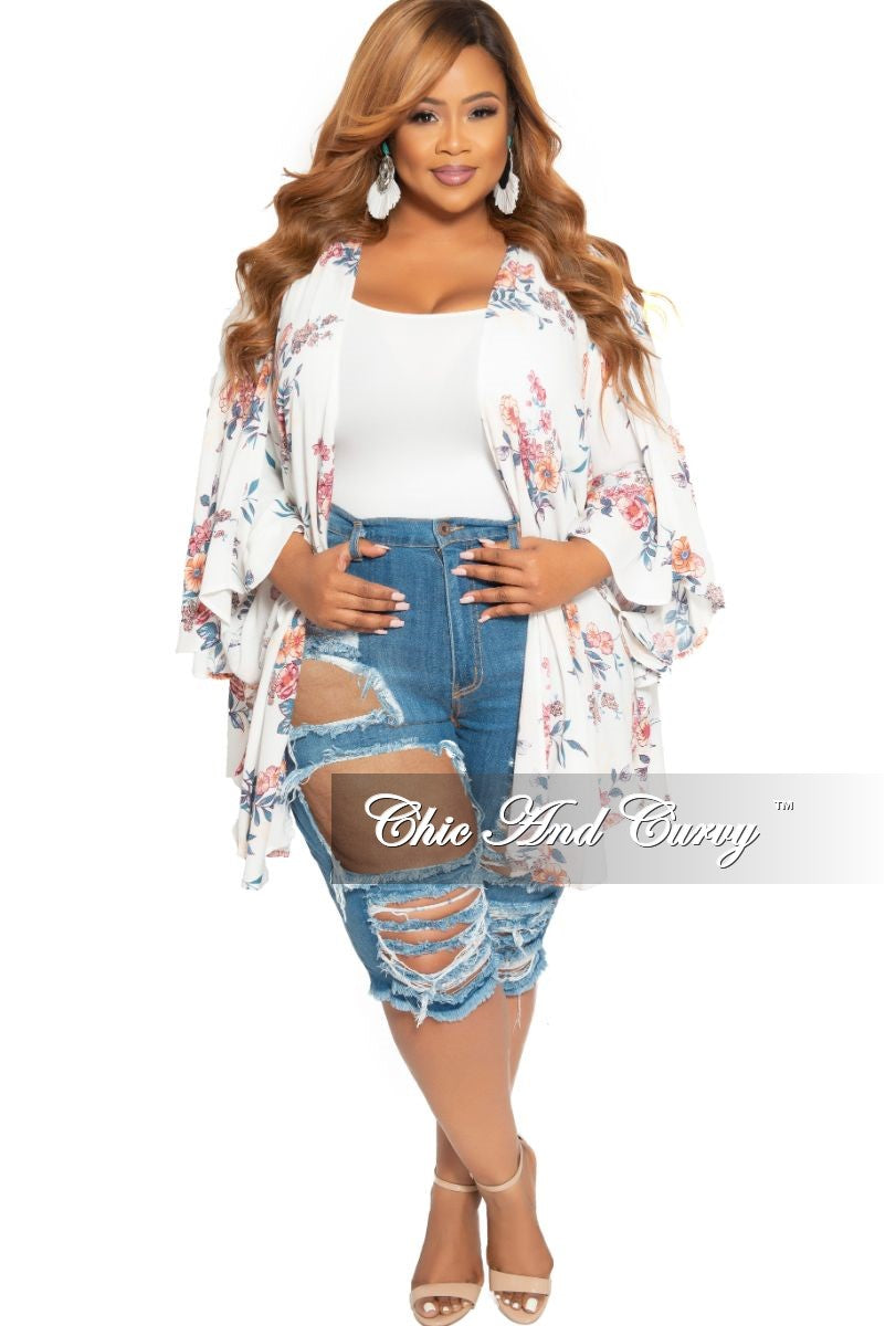New Plus Size Distressed Bermuda Shorts in Medium Blue Denim