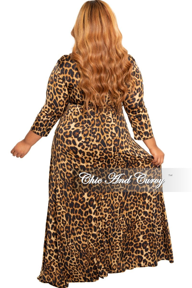 New Plus Size Deep V-Neck Faux Dress with 3/4 Sleeves in Animal Print