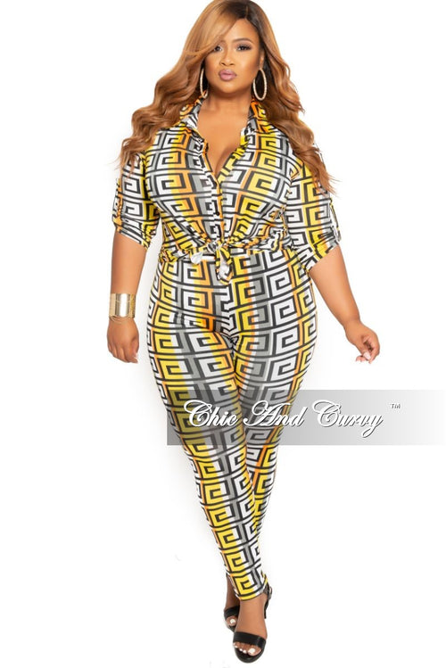 New Plus Size 2-Piece Collared Button Top and Pants Set in Orange White Black and Yellow Maze Print