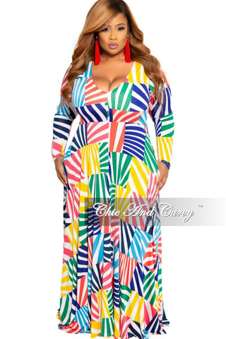 New Plus Size Jumpsuit with Ruffle Sleeves and Attached Tie in Red, Royal Blue, Green & Yellow Design Print