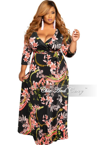 New Plus Size Sleeveless Deep-V Neck Maxi Dress in Royal Blue Multi Color Design Print