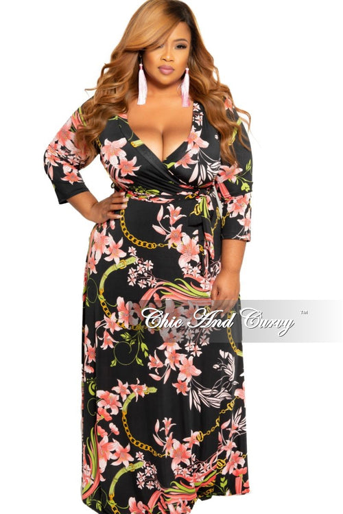 New Plus Size Faux Wrap Dress with 3/4 Sleeves in Black and Pink Floral Print