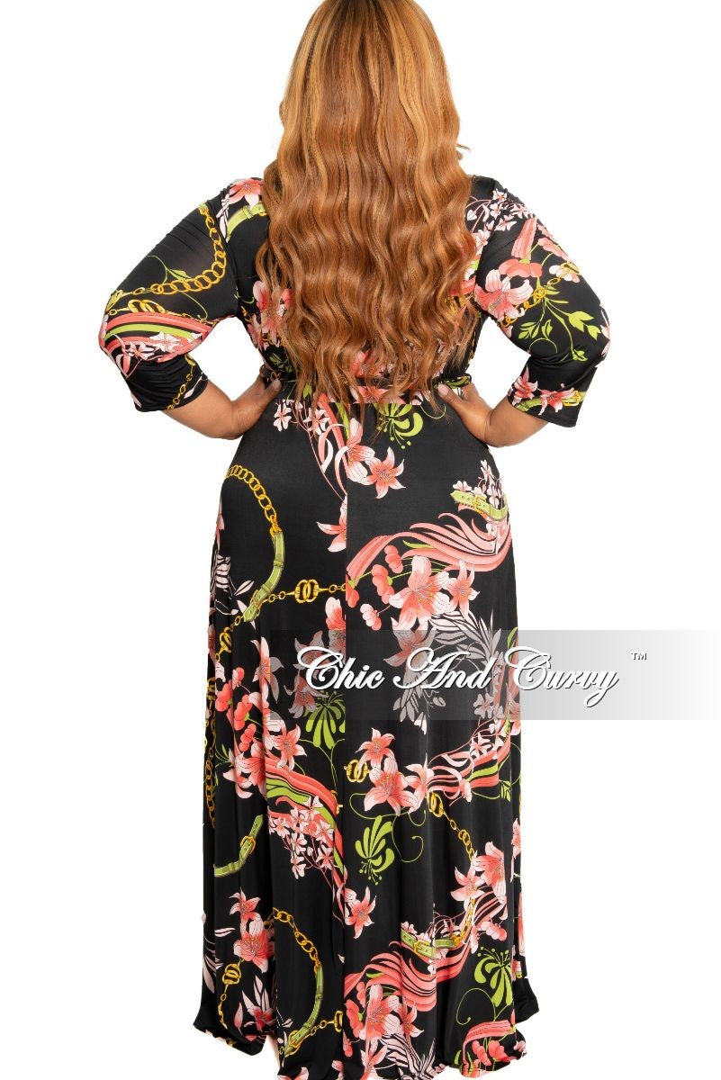 Final Sale Plus Size Faux Wrap Dress with 3/4 Sleeves in Black and Pink Floral Print