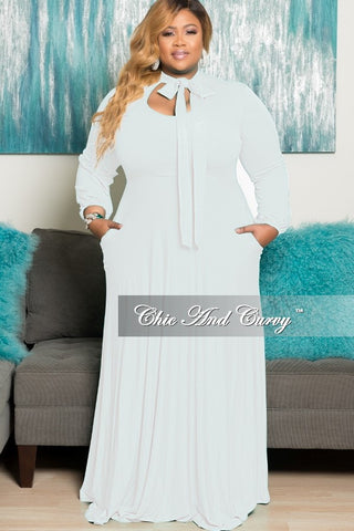 Final Sale Plus Size Long Dress with Long Sleeve with Neck Bow Tie in White