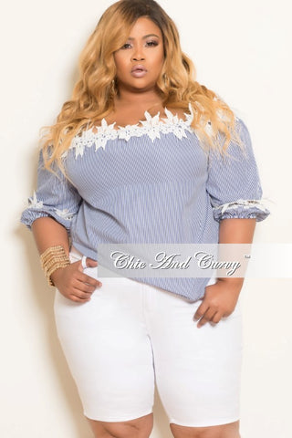 New Plus Size Striped Off the Shoulder Top with Blue and White