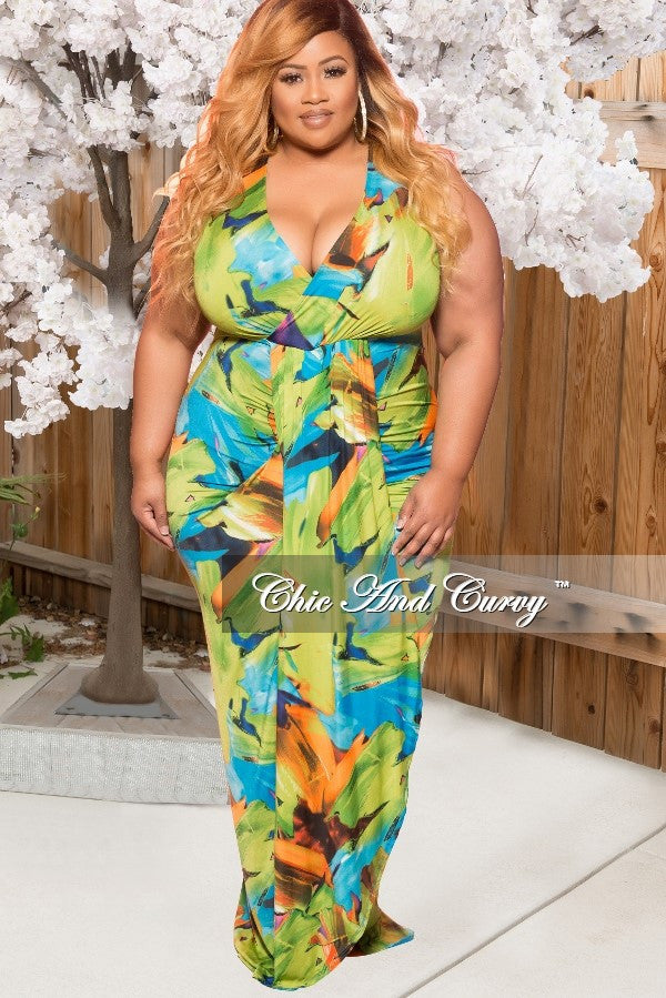 New Plus Size V-Neck Tank Maxi Dress in Green Multi Color Print