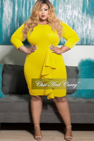 New Plus Size BodyCon Dress with Side Ruffle in Yellow