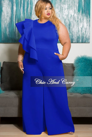 Final Sale Plus Size Sleeveless Solid Scuba Jumpsuit with Front Ruffles in Royal Blue