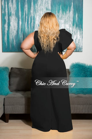 New Plus Size Sleeveless Solid Scuba Jumpsuit with Front Ruffles in Black
