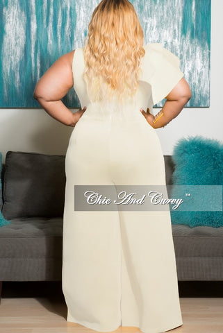 New Plus Size Sleeveless Solid Scuba Jumpsuit with Front Ruffles in Ivory