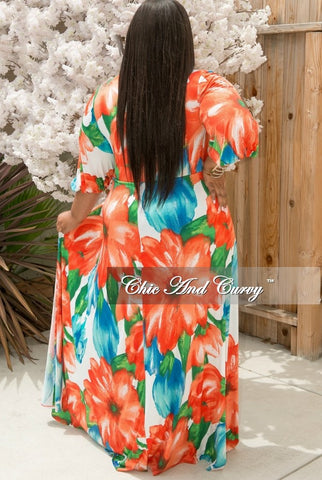 New Plus Size Jumpsuit with Attached Long Skirt in Orange, Green, Blue and White