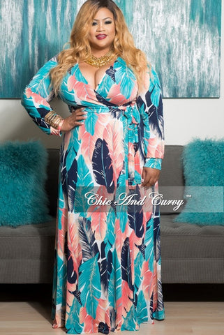 New Plus Size Long Sleeve Wrap Dress in Teal, Coral and Blue