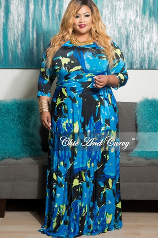 New Plus Size Long Pocket Dress with 3/4 Sleeve and Tie in Royal Blue. Neon Green and Black