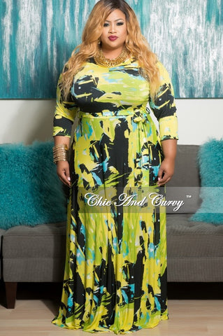 New Plus Size Long Pocket Dress with 3/4 Sleeve and Tie in Yellow, Black and Neon Green