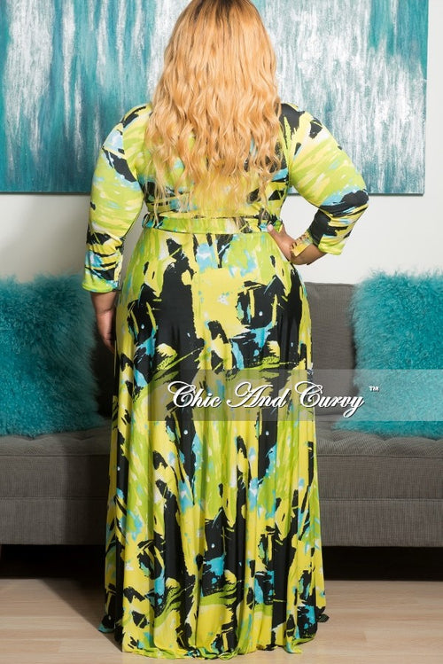 Final Sale Plus Size Long Pocket Dress with 3/4 Sleeve and Tie in Yellow, Black and Neon Green