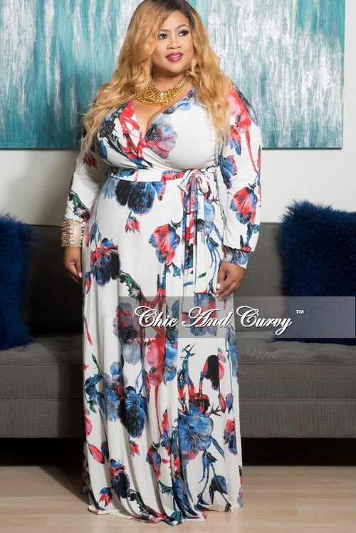 Final Sale Plus Size Long Dress with Wrap and Tie in White, Blue, Black and Red Floral Print