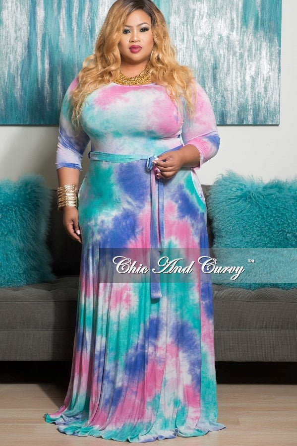 New Plus Size Long Pocket Dress with 3/4 Sleeve and Tie in Lavender, Mint & Pink