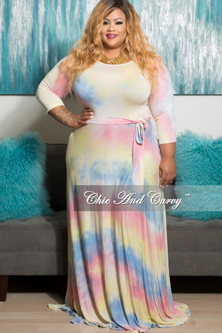 New Plus Size Long Pocket Dress with 3/4 Sleeve and Tie in Yellow, Pink and Light Blue