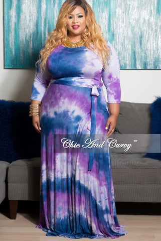 New Plus Size Long Pocket Dress with 3/4 Sleeve and Tie in Purple, Lavender and  Blue