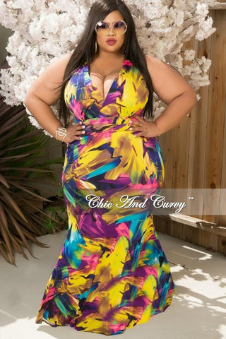 50% Off Sale - Final Sale Plus Size Maxi Dress in Yellow, Purple and Blue Floral Print