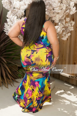 New Plus Size Maxi Dress in Yellow, Purple and Blue Floral Print