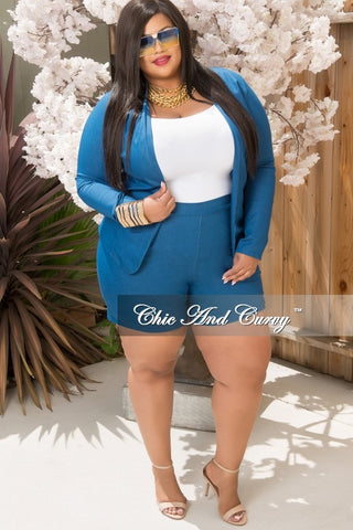 New Plus Size 2-Piece Blazer Set w/ Shorts in Stretched Denim Fabric