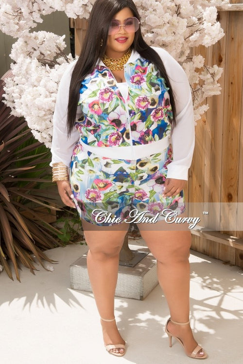 Final Sale  Plus Size 2 Piece Short Set in White, Blue, Pink and Green