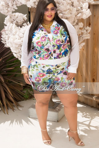 Final Sale Plus Size Romper with Mesh Overlay and Slit in Black