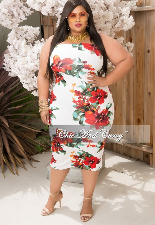 Final Sale  Plus Size Strapless BodyCon Dress in Off White, Red and Orange Floral Print